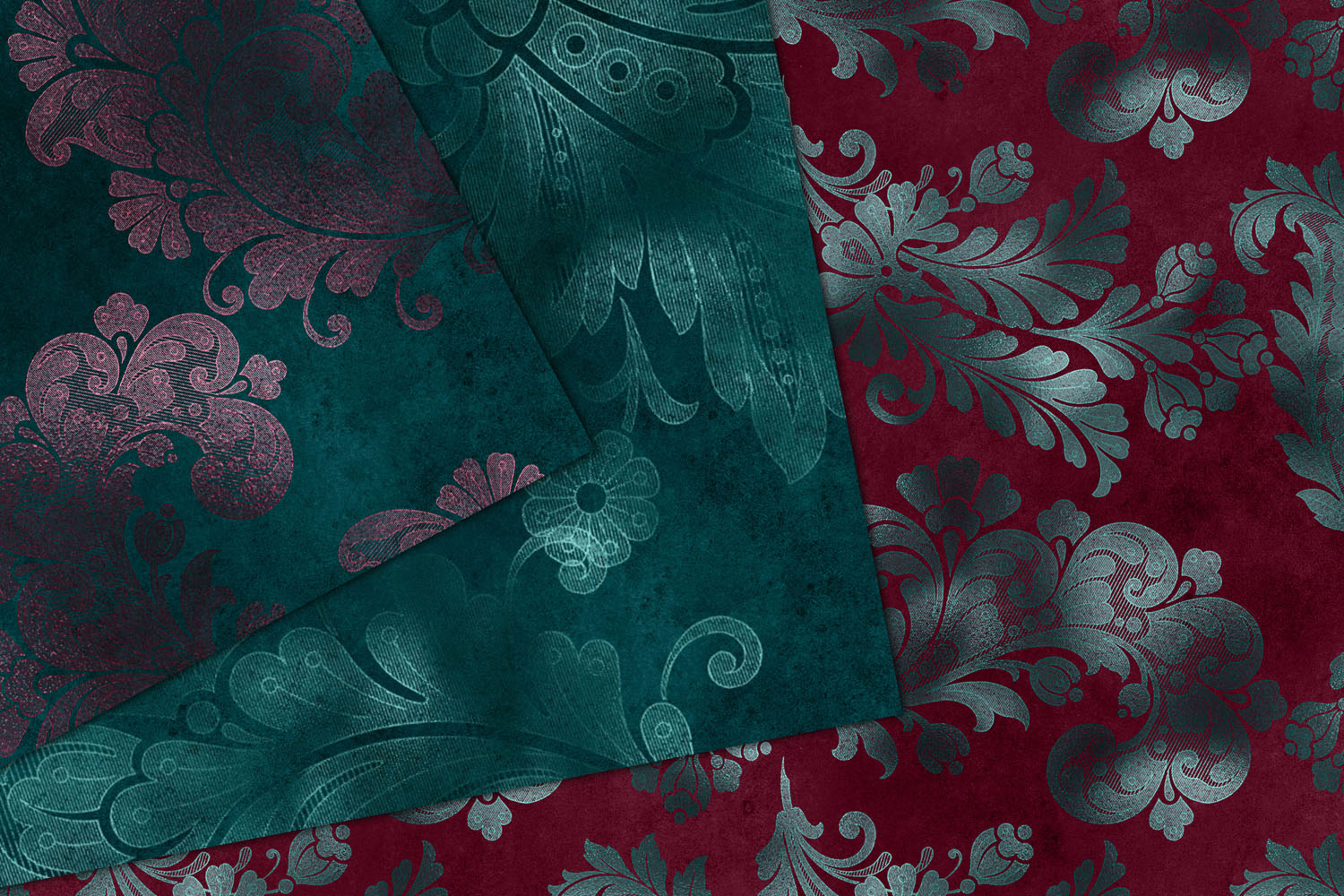 Teal and Burgundy Floral Digital Paper example image 3