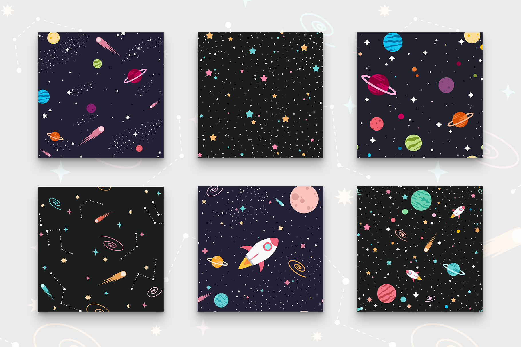 Outer Space Seamless Patterns example image 3