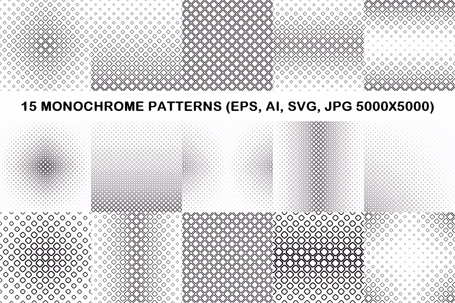 75 Monochrome Geometrical Patterns AI, EPS, JPG 5000x5000 example image 2