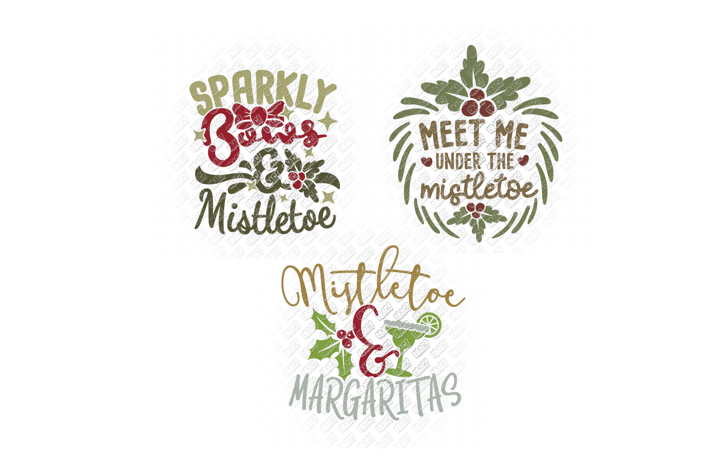 Mistletoe SVG Monogram Christmas in SVG, DXF, PNG, EPS, JPEG example image 8