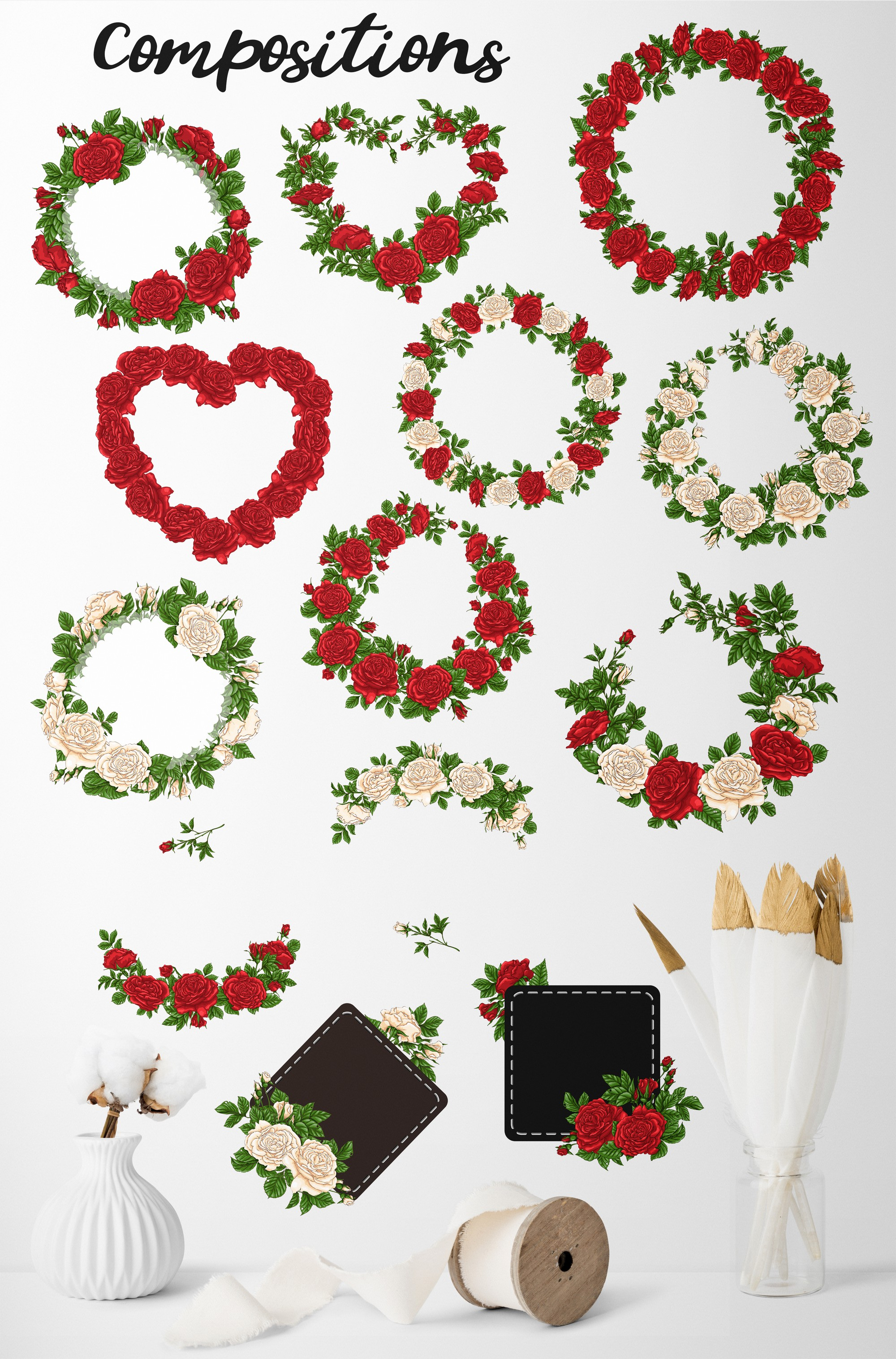 Roses – Vector Clip Art Set example image 18
