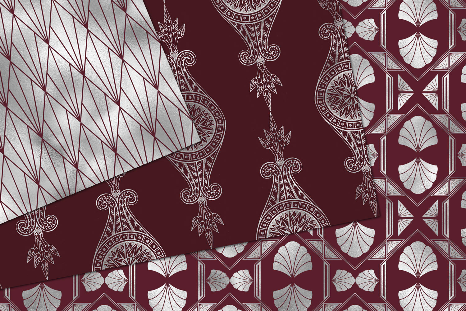 Maroon and Silver Art Deco Digital Paper example image 2