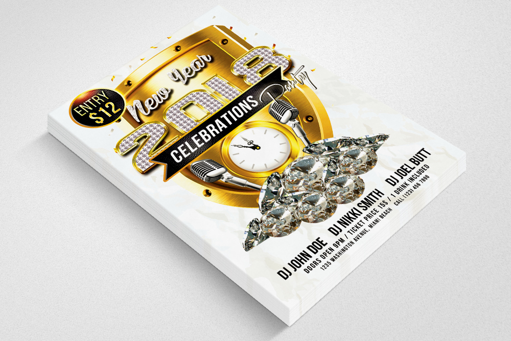 Happy New Year Flyer Psd Templates example image 2
