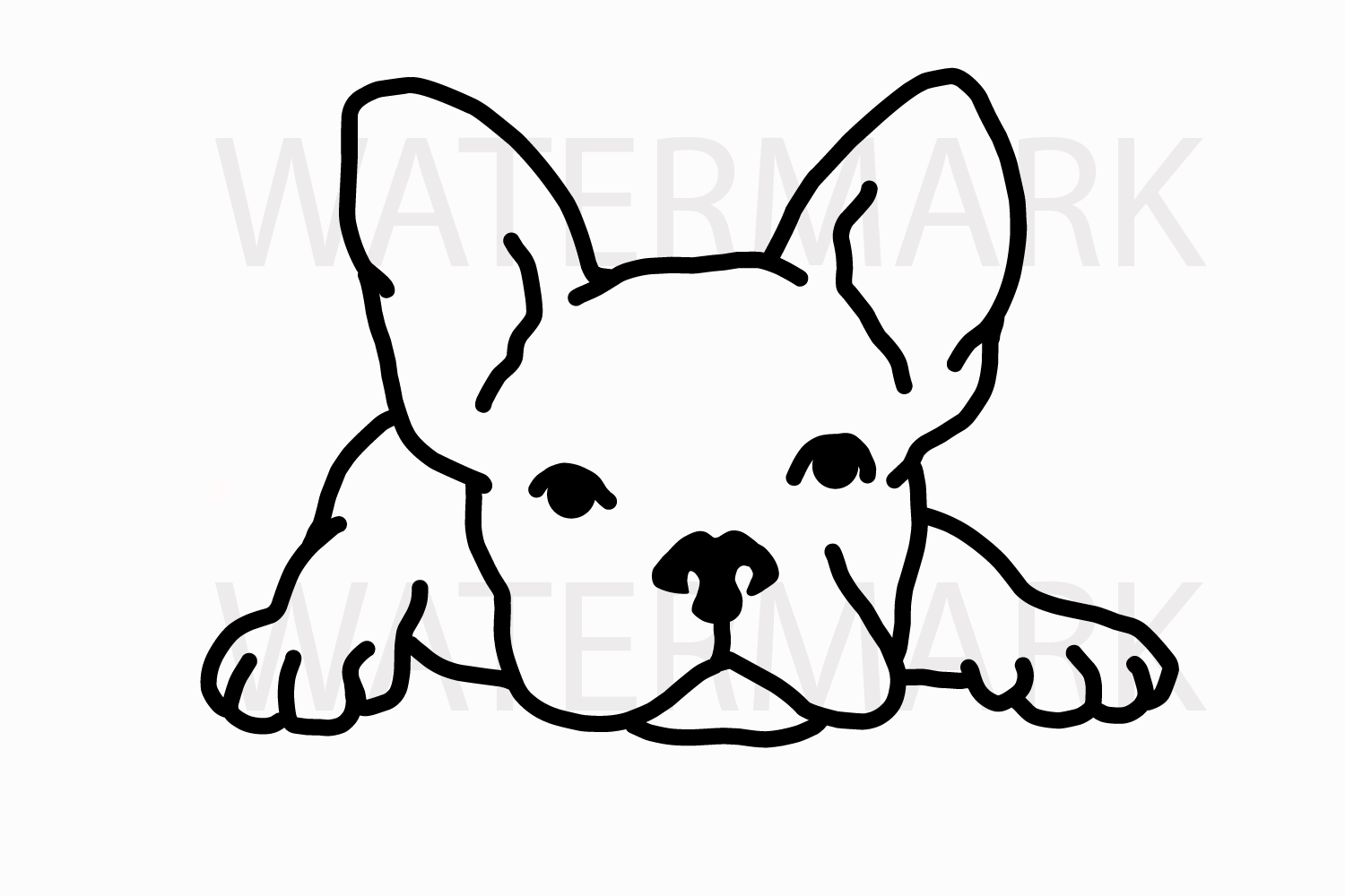 French Bulldog Waiting Svg Jpghand Drawing