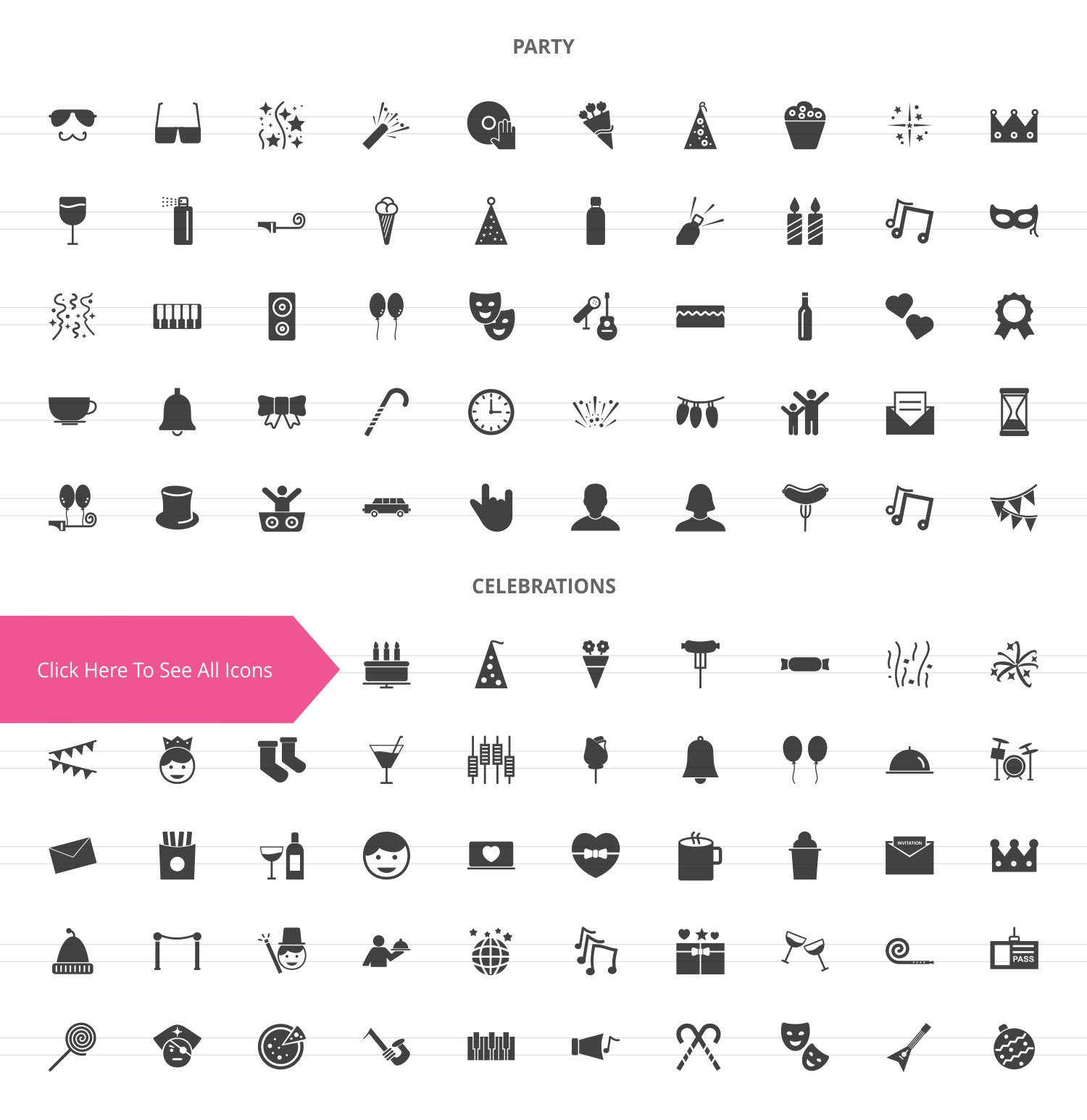 100 Party Glyph Icons example image 2