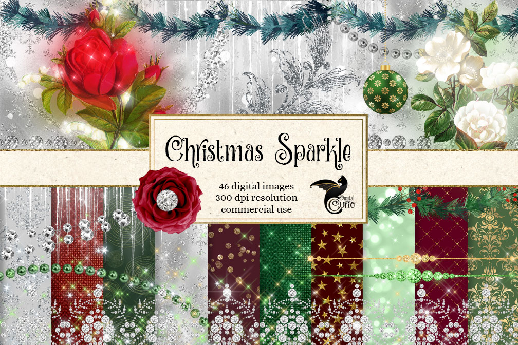 Christmas Sparkle Digital Scrapbooking Kit example image 1