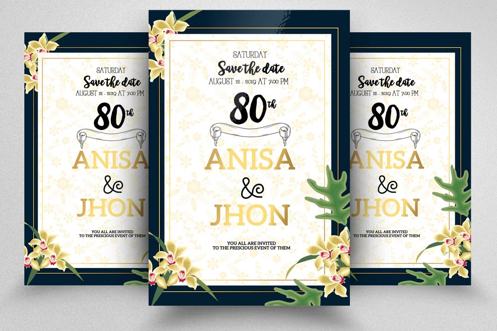 4 Floral Wedding Invitation Flyers Bundle example image 4