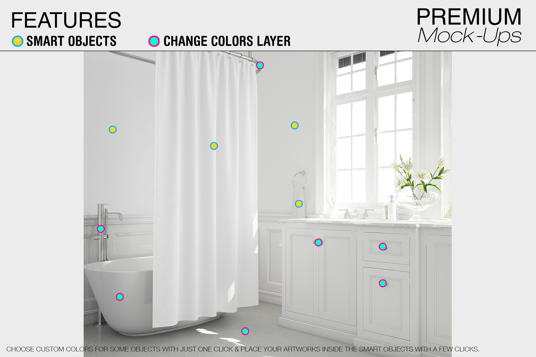 Bath Curtain Mockup Pack example image 13