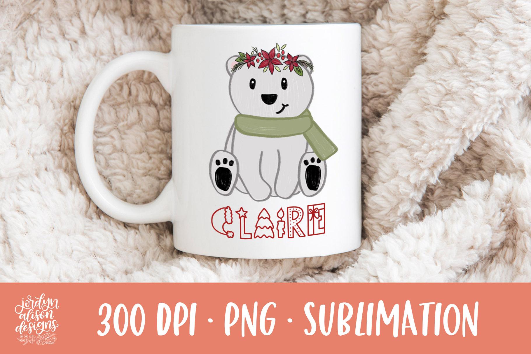 Christmas Polar Bear, Sublimation Design example image 2