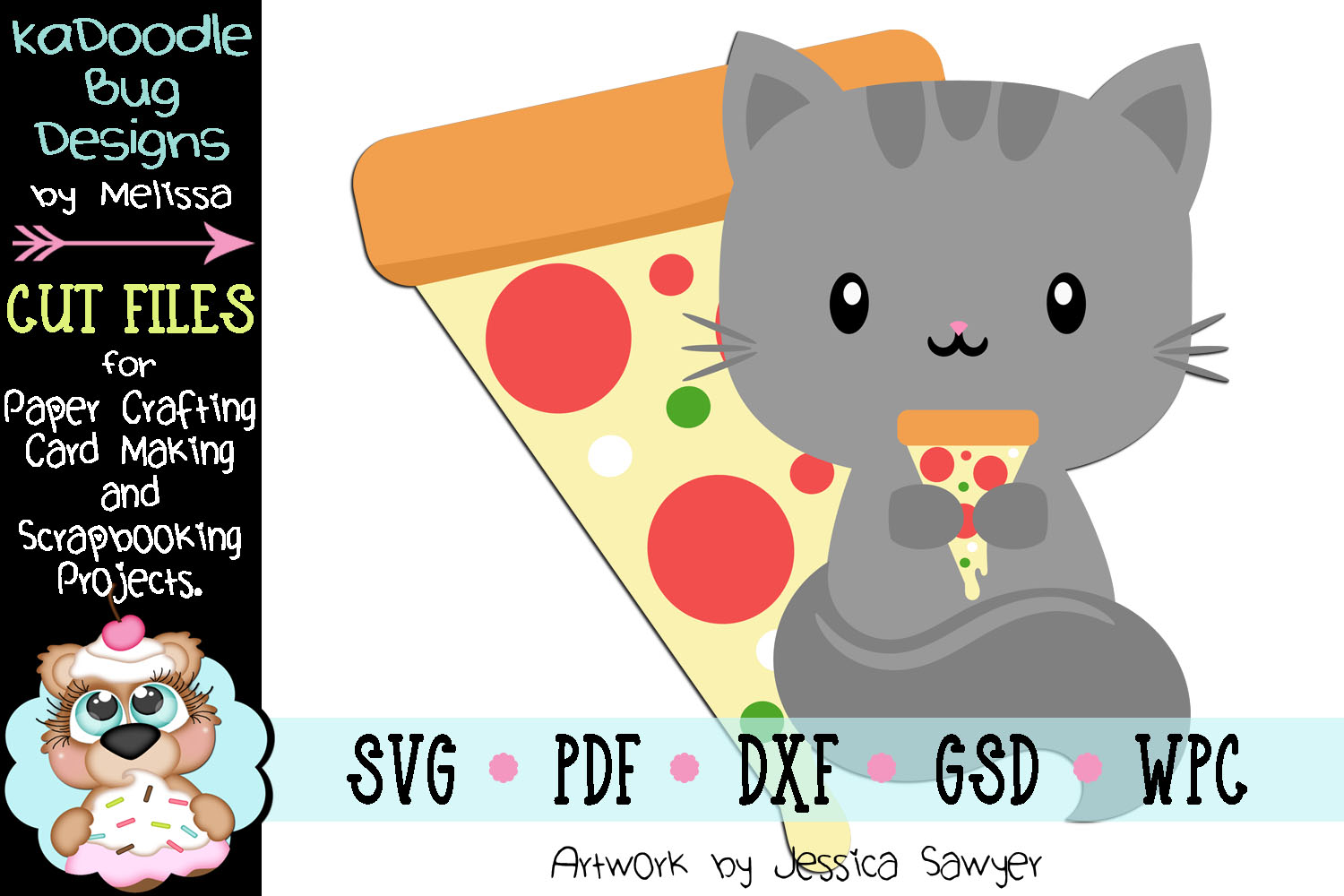 Pizza Kitty Cut File - SVG PDF DXF GSD example image 1