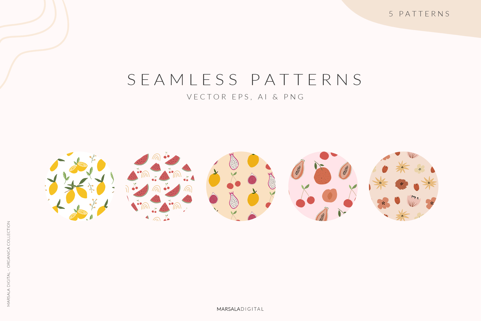 Abstract Shapes & Fun Fruits Patterns and Graphics example image 6