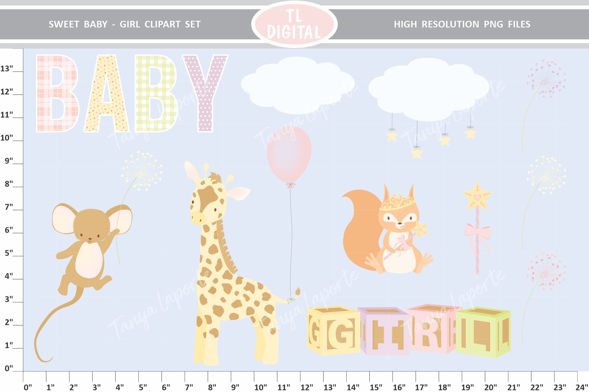 Sweet Baby Girl Clipart Set - 26 Baby themed Graphics example image 2