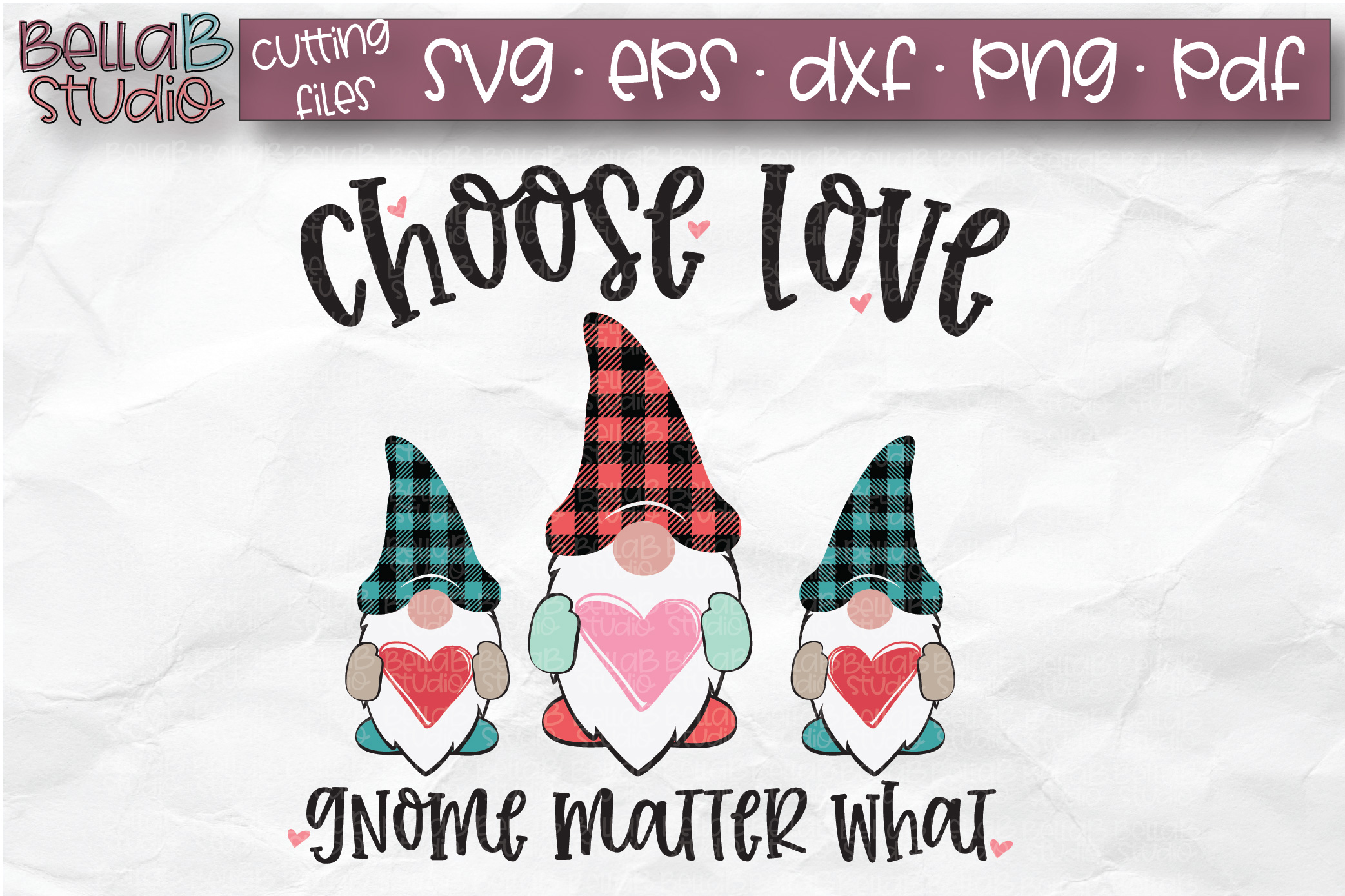 Valentine Gnomes SVG, Choose Love Gnome Matter What, Plaid example image 1