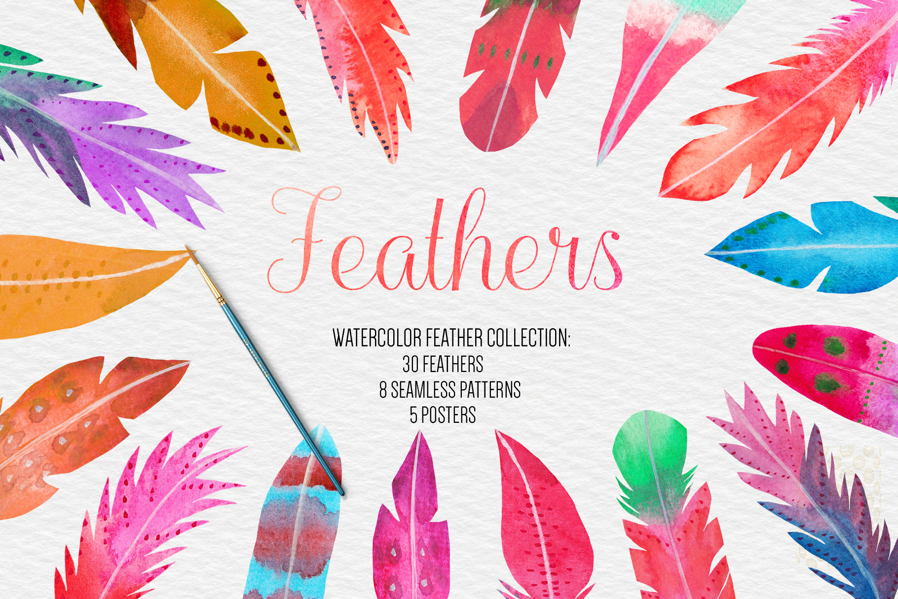 Watercolor Feathers Clipart, Watercolor Feather Illustration example image 1