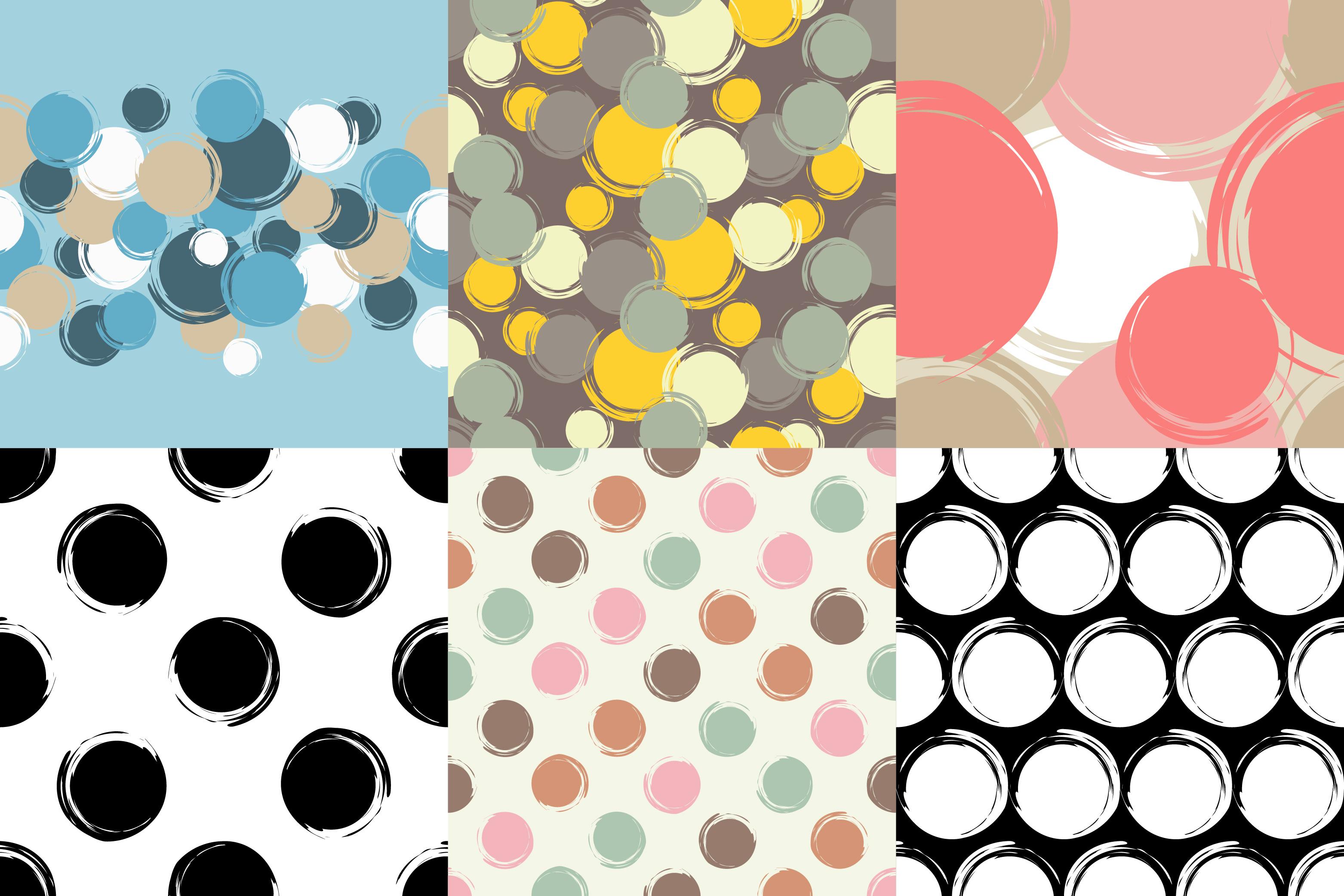 Set of 6 Polka dot seamless pattern. Brushwork.  example image 1