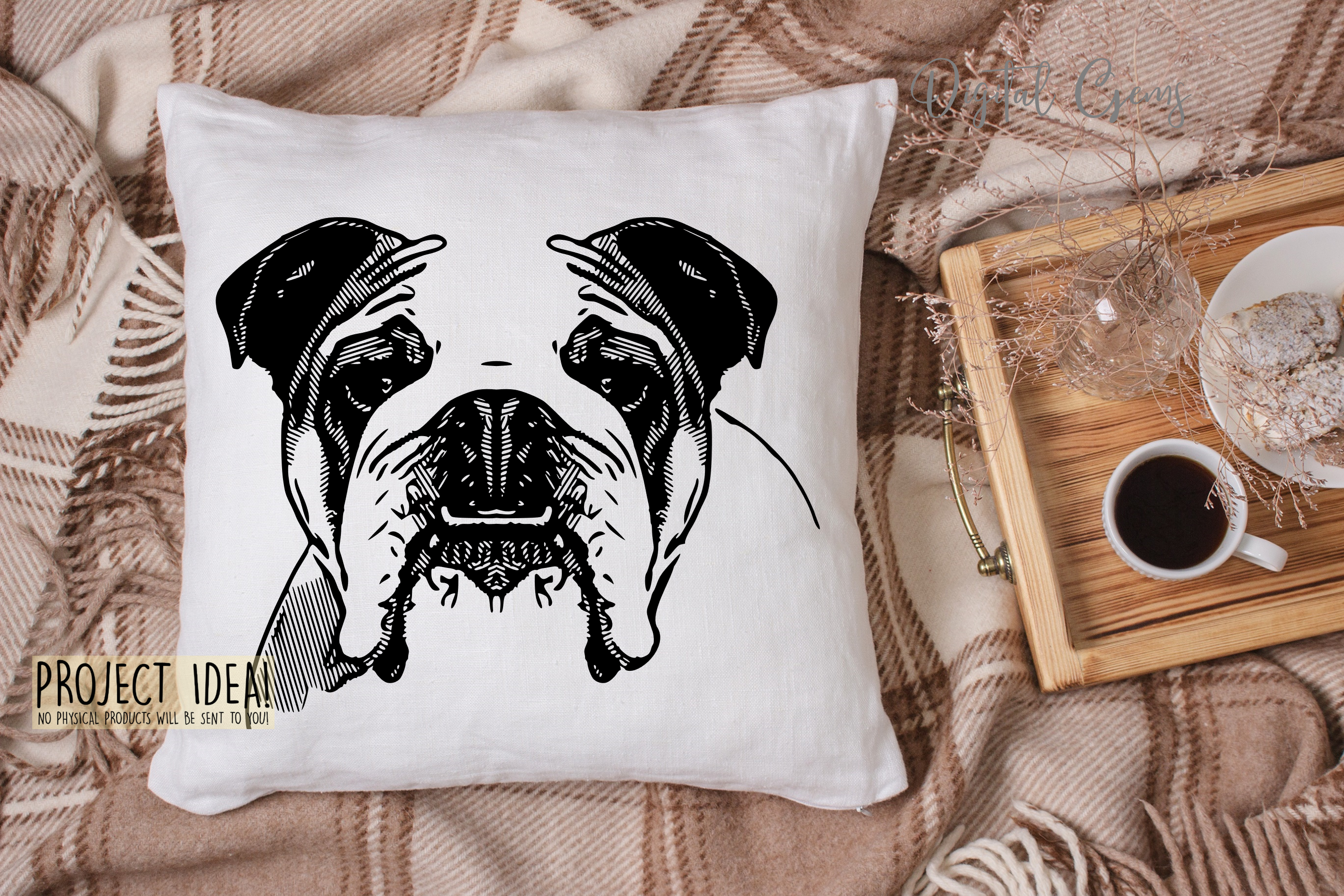 English Bull Dog SVG / EPS / DXF / PNG Files example image 2
