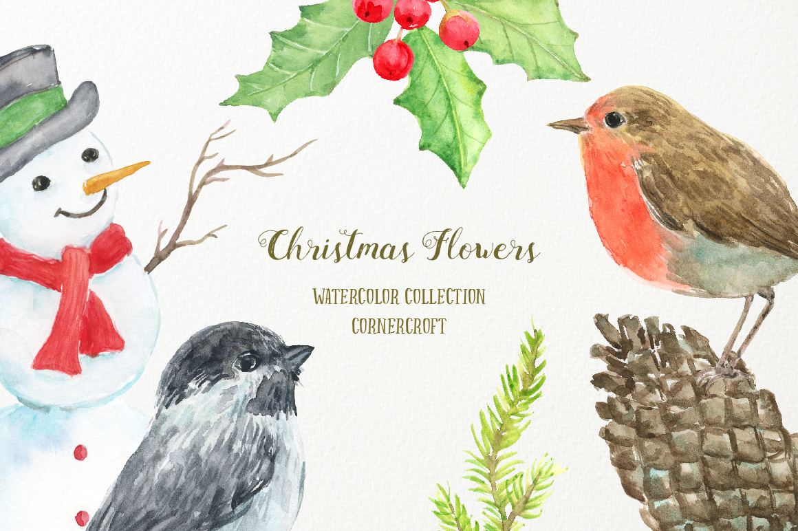 Watercolor Clipart Christmas Flowers example image 3