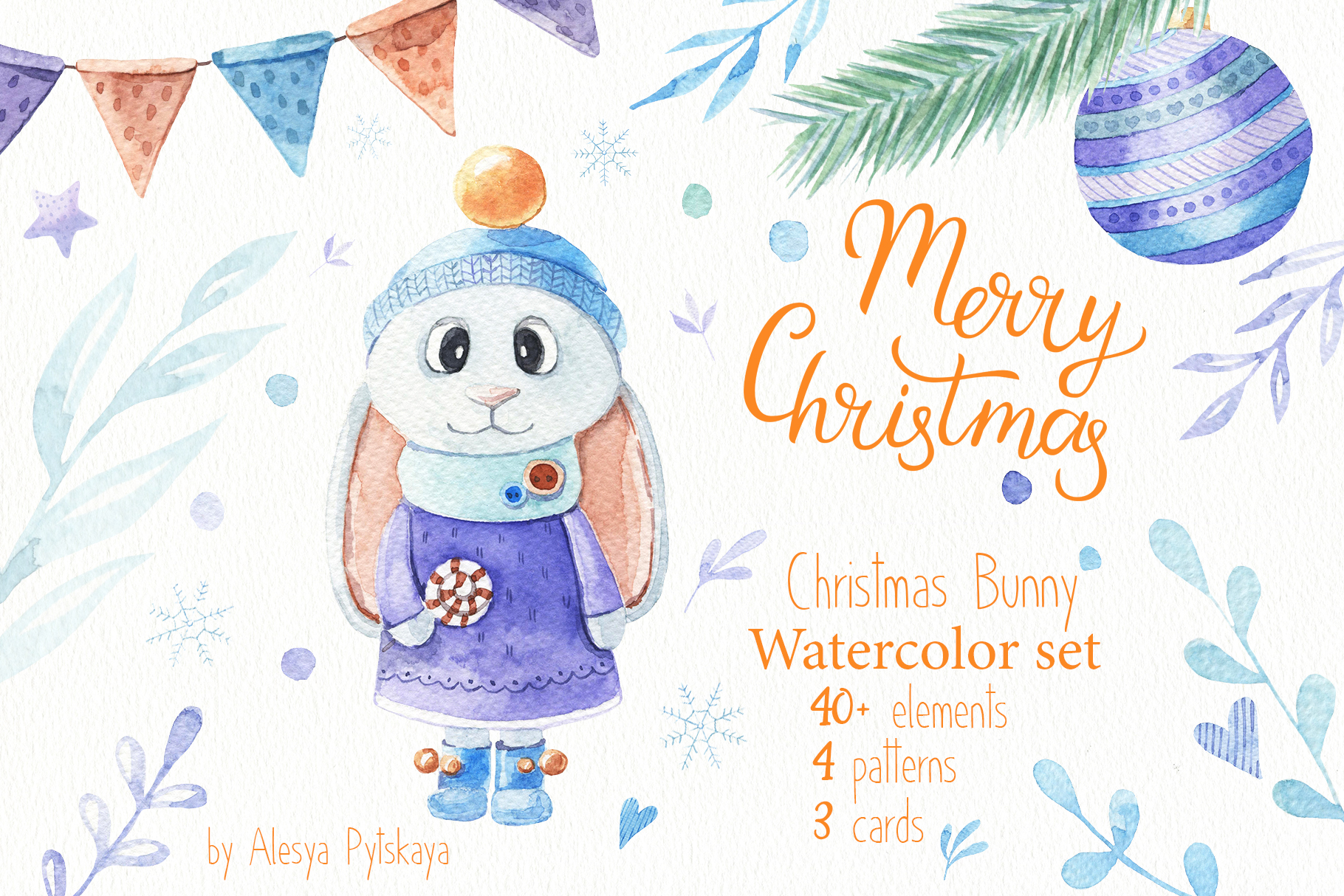 Christmas Bunny - Watercolor set example image 1