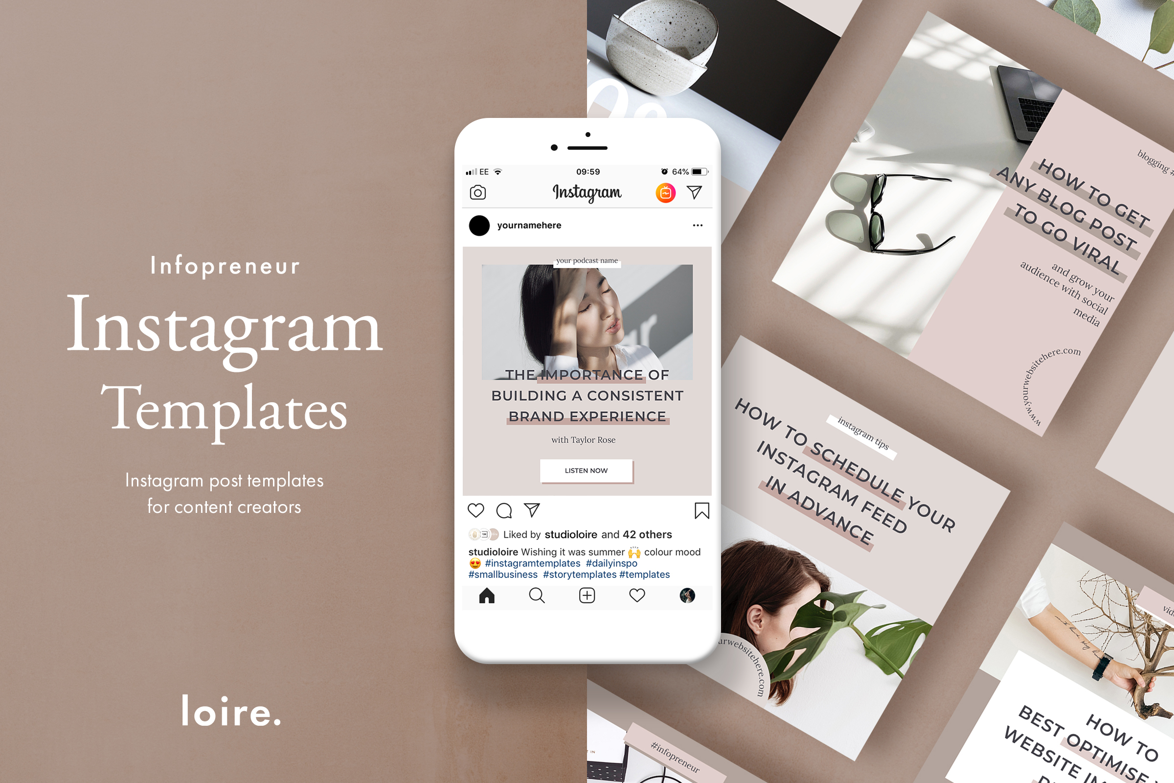 Instagram post template pack for bloggers example image 1