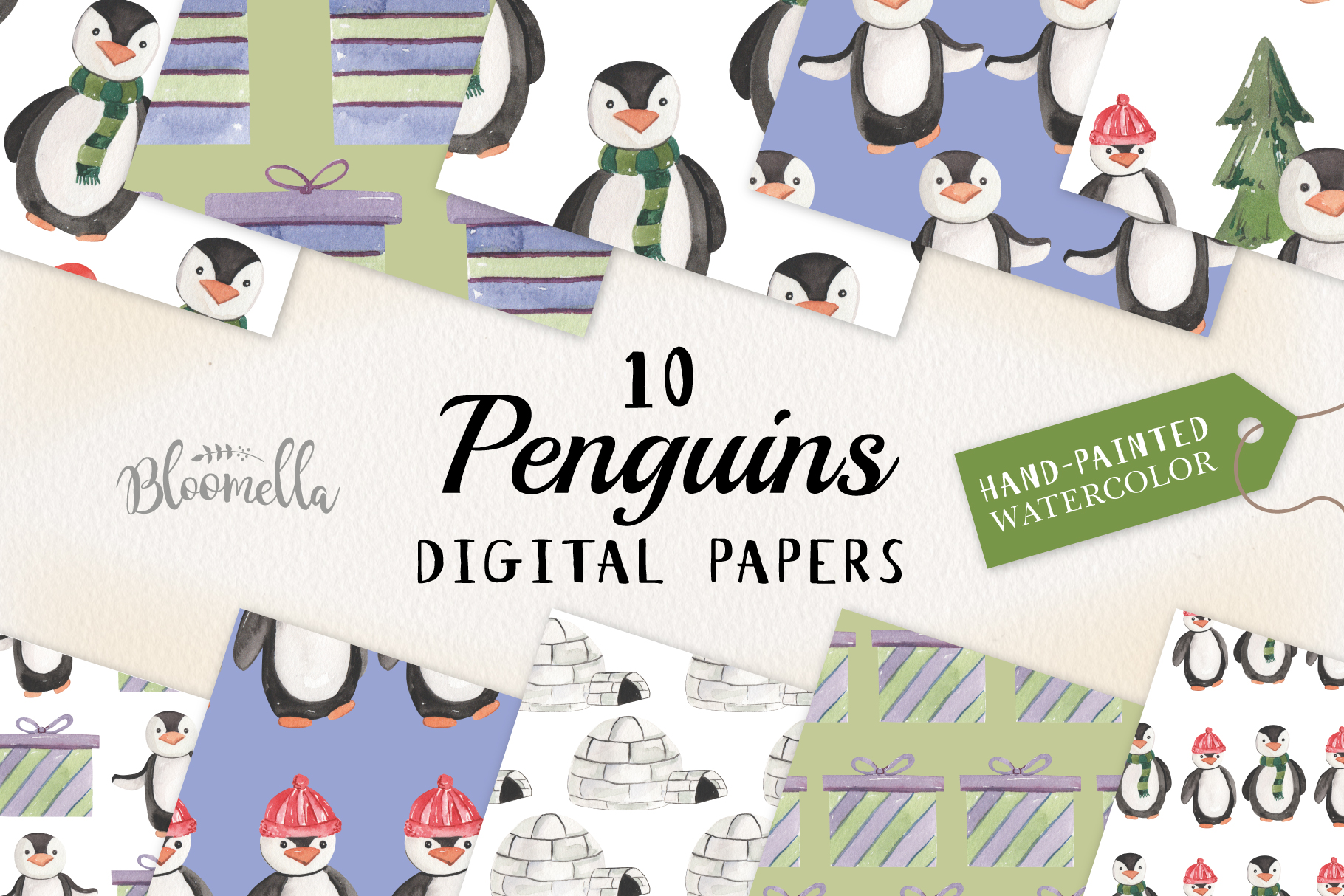 Penguins Seamless Patterns Digital Papers Winter Festive example image 1