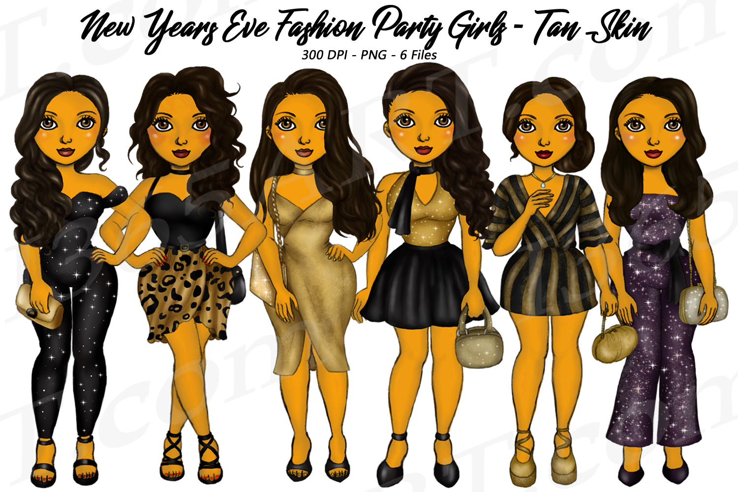 New Years Eve Party Brown Skin Tan Girls Fashion Clipart example image 1