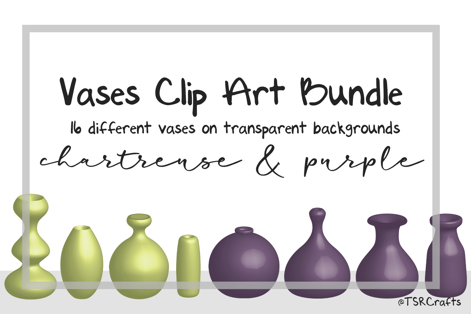 Clip Art Bundle - Flower Vases - Chartreuse and Purple example image 1
