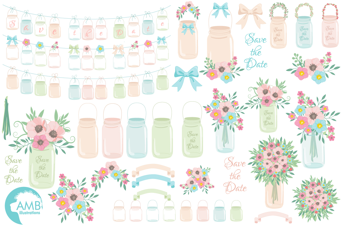 Mason Jar Wedding clipart, graphics, illustrations AMB-966 example image 5