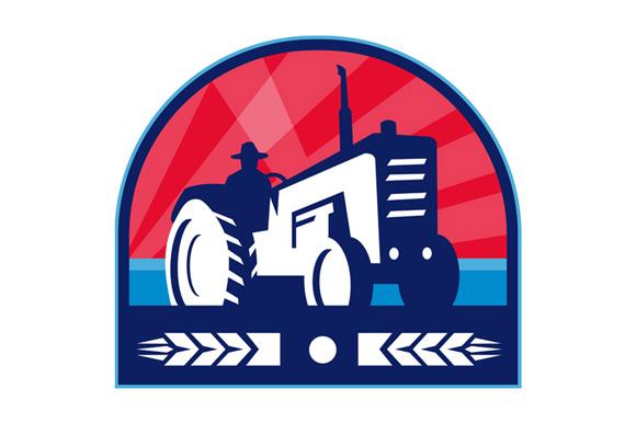 Organic Farmer Tractor Wheat Crest Retro example image 1