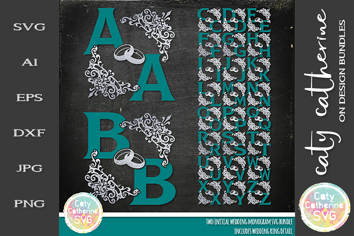 Two Initial Wedding Monogram With Rings Bundle SVG Cut File example image 1