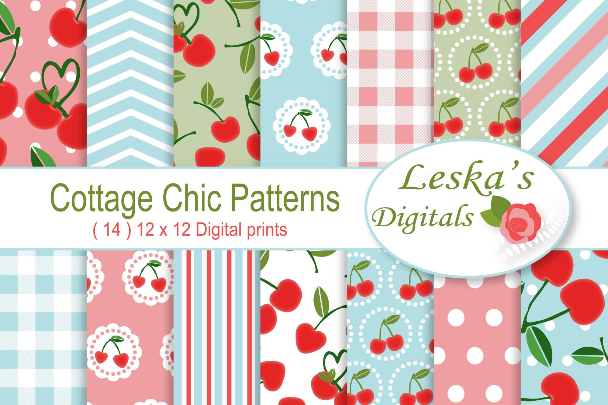 Cherry Digital Paper - Cottage Chic example image 1