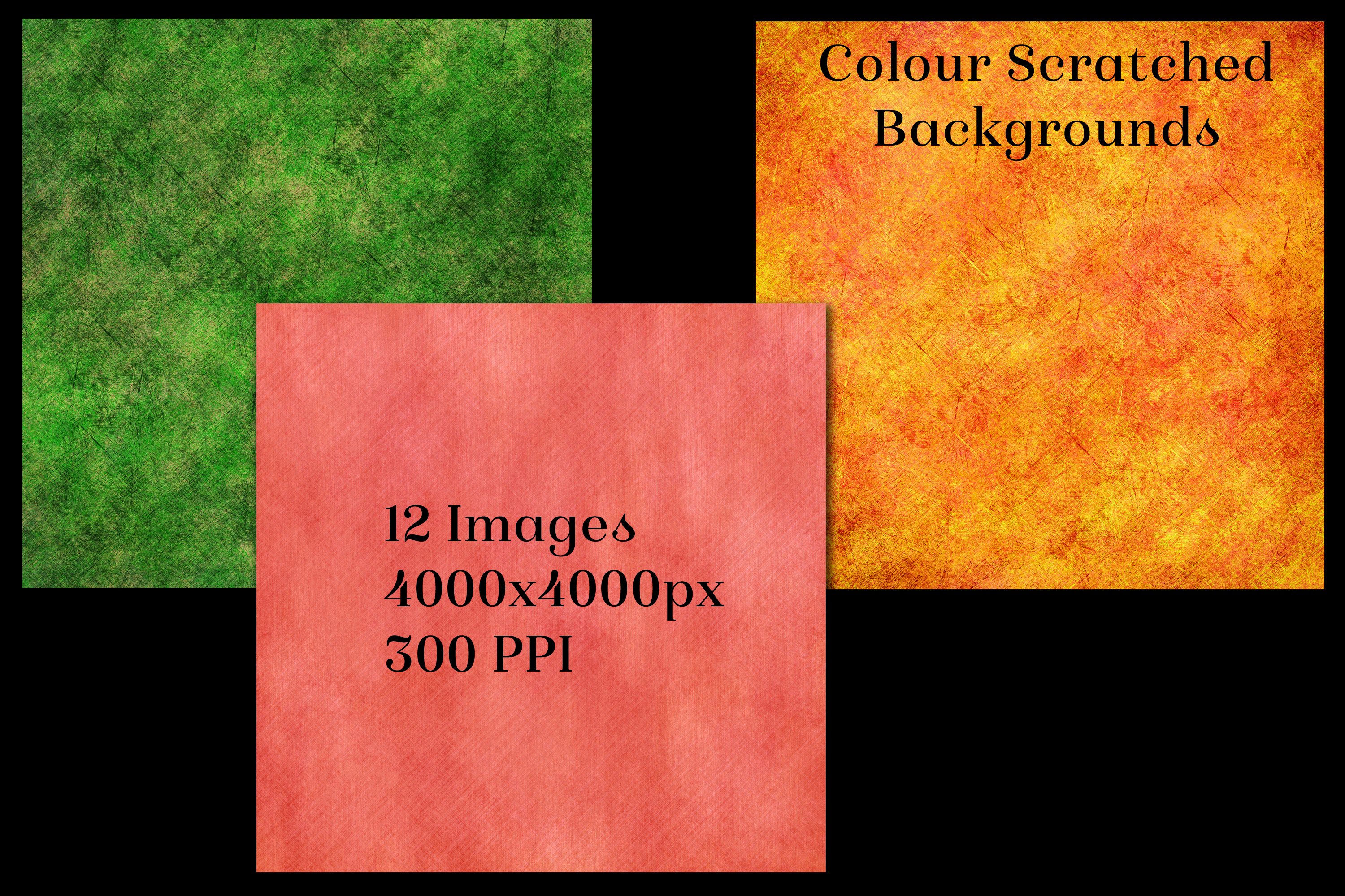 Colour Scratched Backgrounds - 12 Image Textures Set example image 3