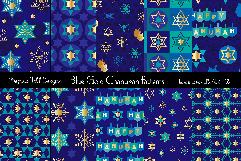 Blue Gold Hanukkah Patterns example image 1