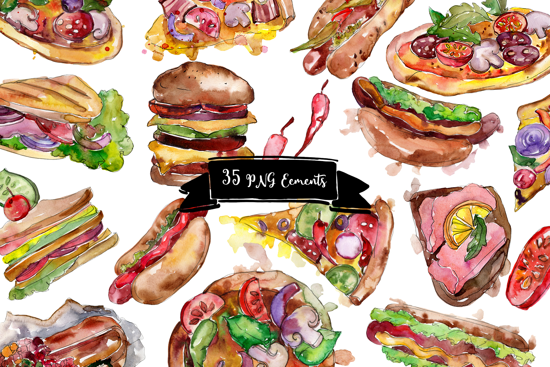 Fast food hot dog watercolor png example image 3