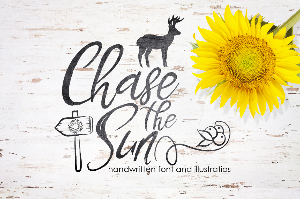 Chase The Sun. Font & illustrations example image 1