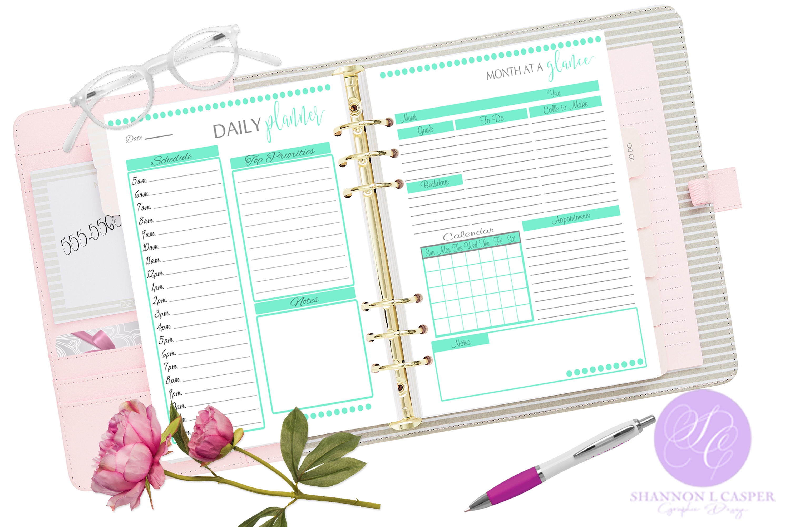 Printable Daily Weekly Monthly Planner Sheets example image 2