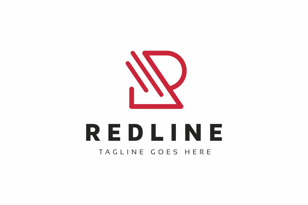Red Line R Letter Logo example image 1