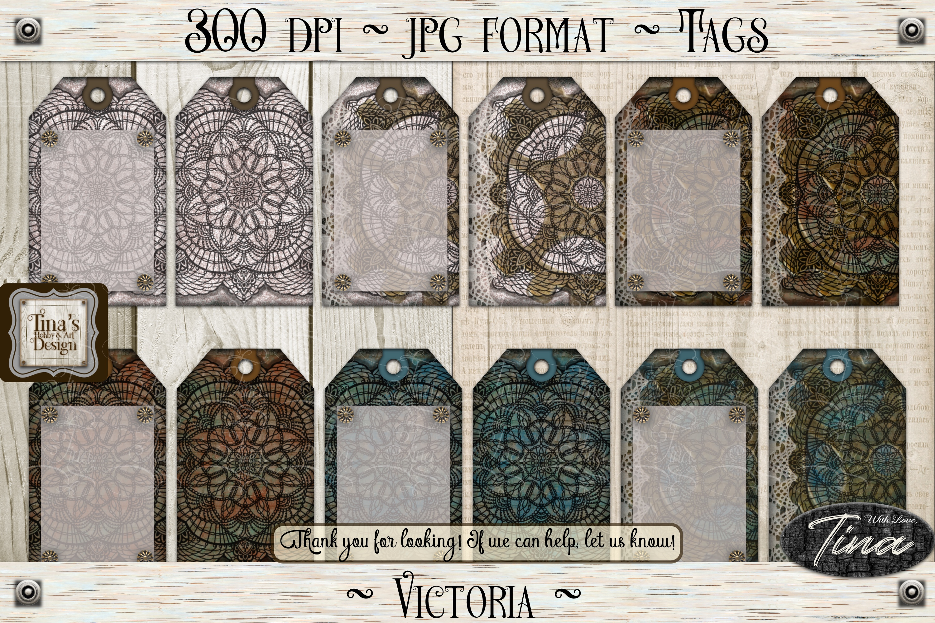 Victoria Steampunk Lace Doily Paper/Tag Collection 102618 example image 3