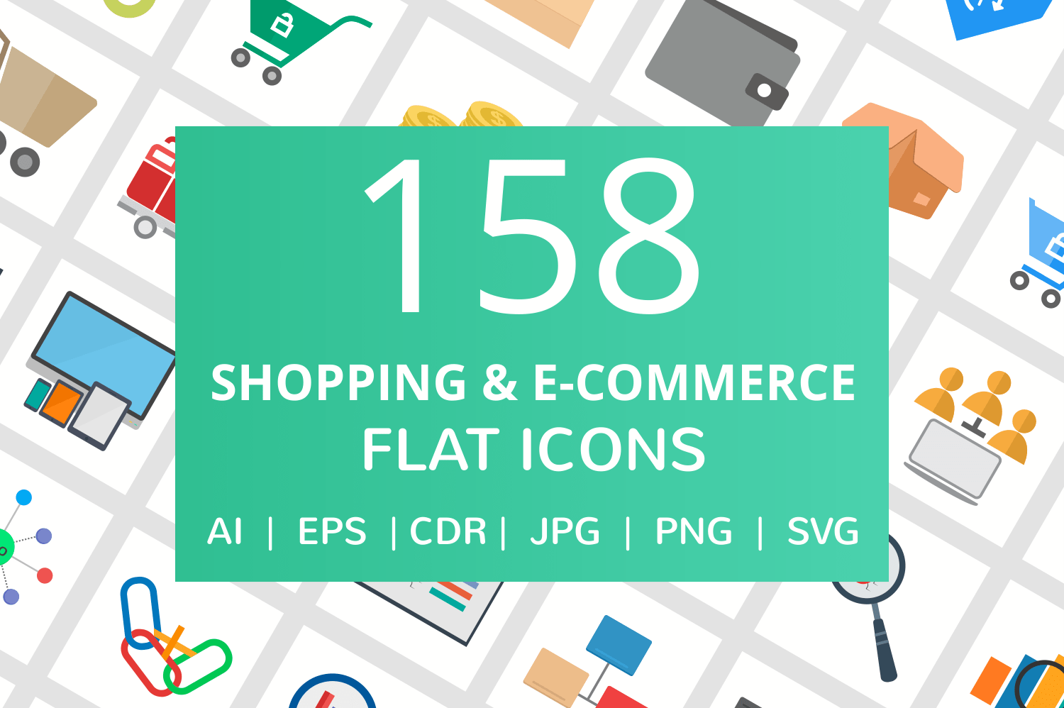 158 Shopping & E-Commerce Flat Icons example image 1