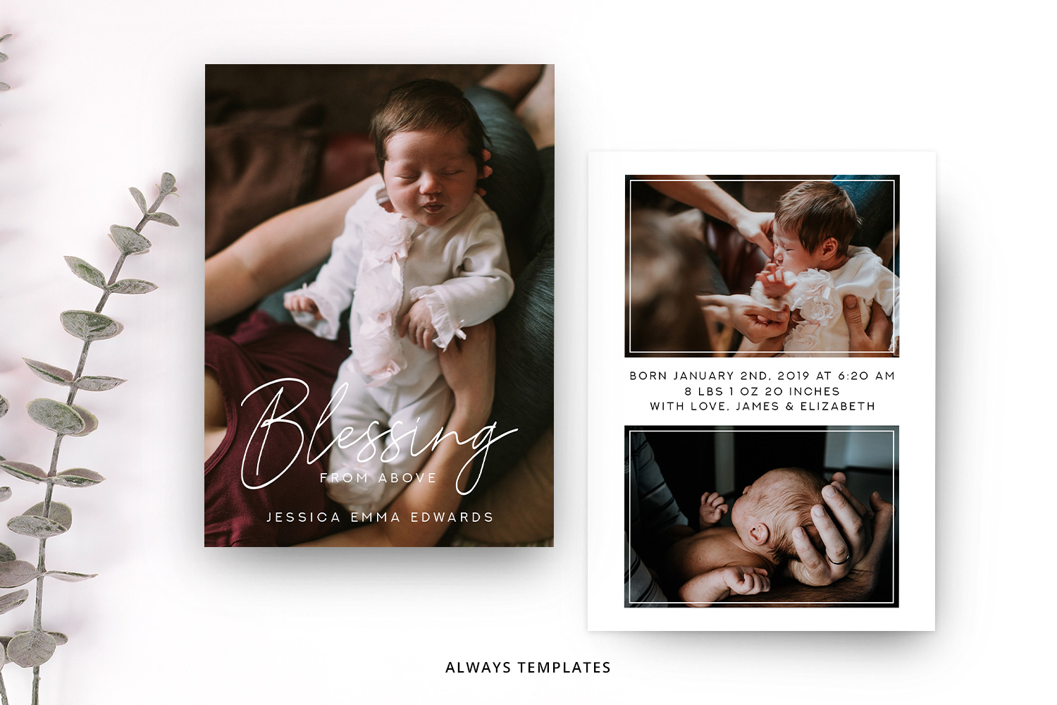 Birth Announcement Template BA006 example image 1