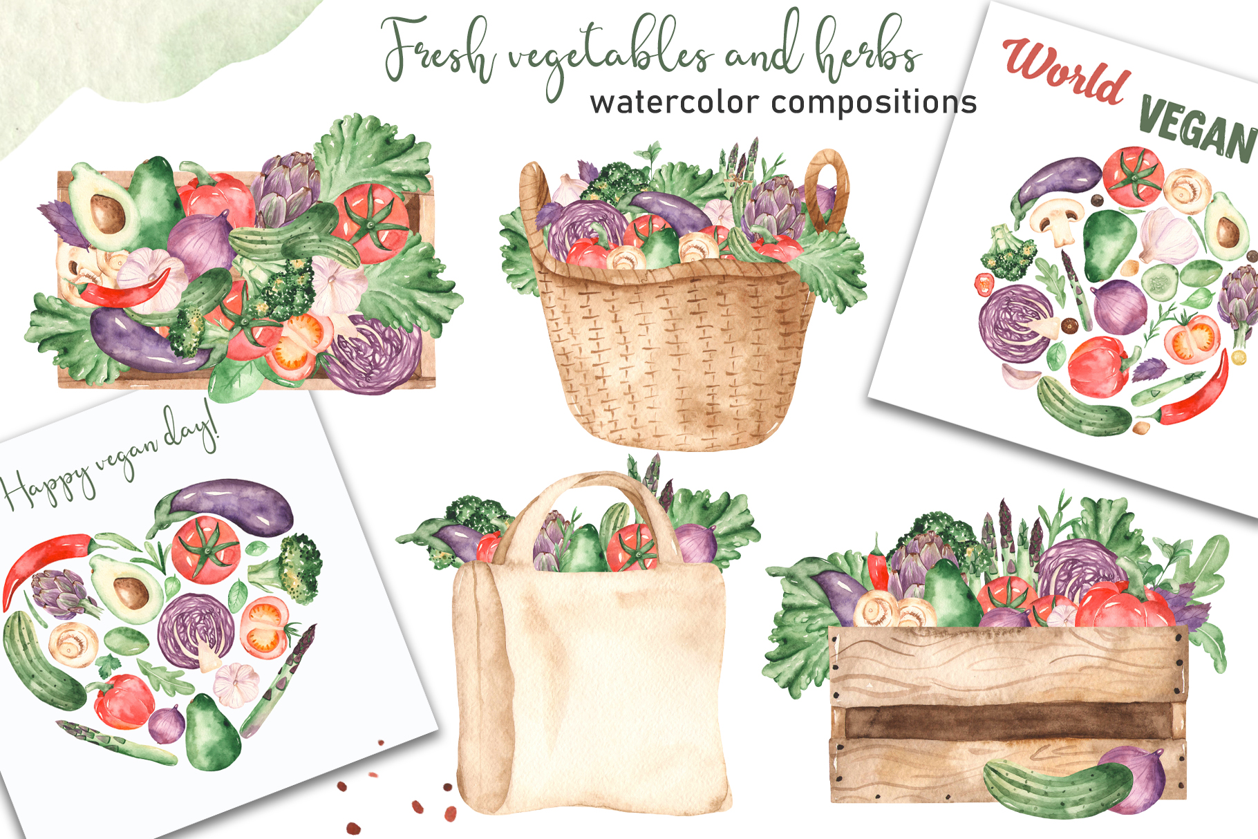 Vegetables and herbs Watercolor collection Clipart example image 7