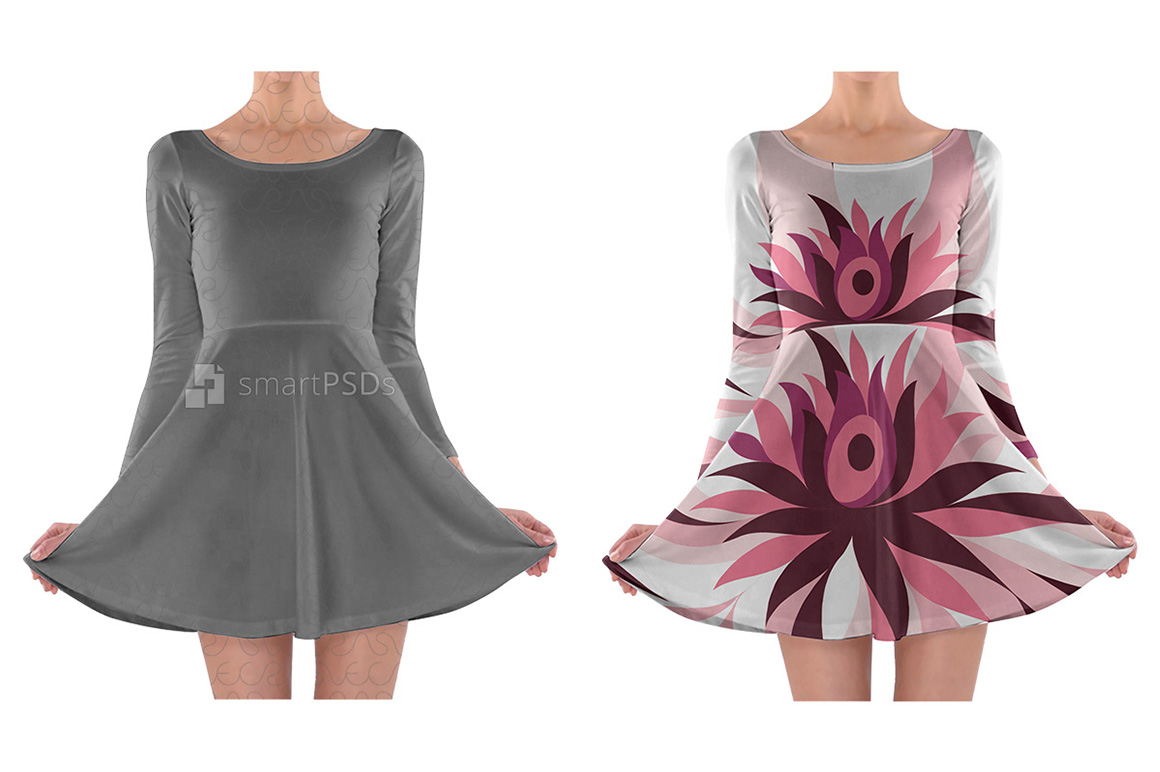Long Sleeve Skater Dress Design Mockup for Sublimation Printing - 2 Views example image 1