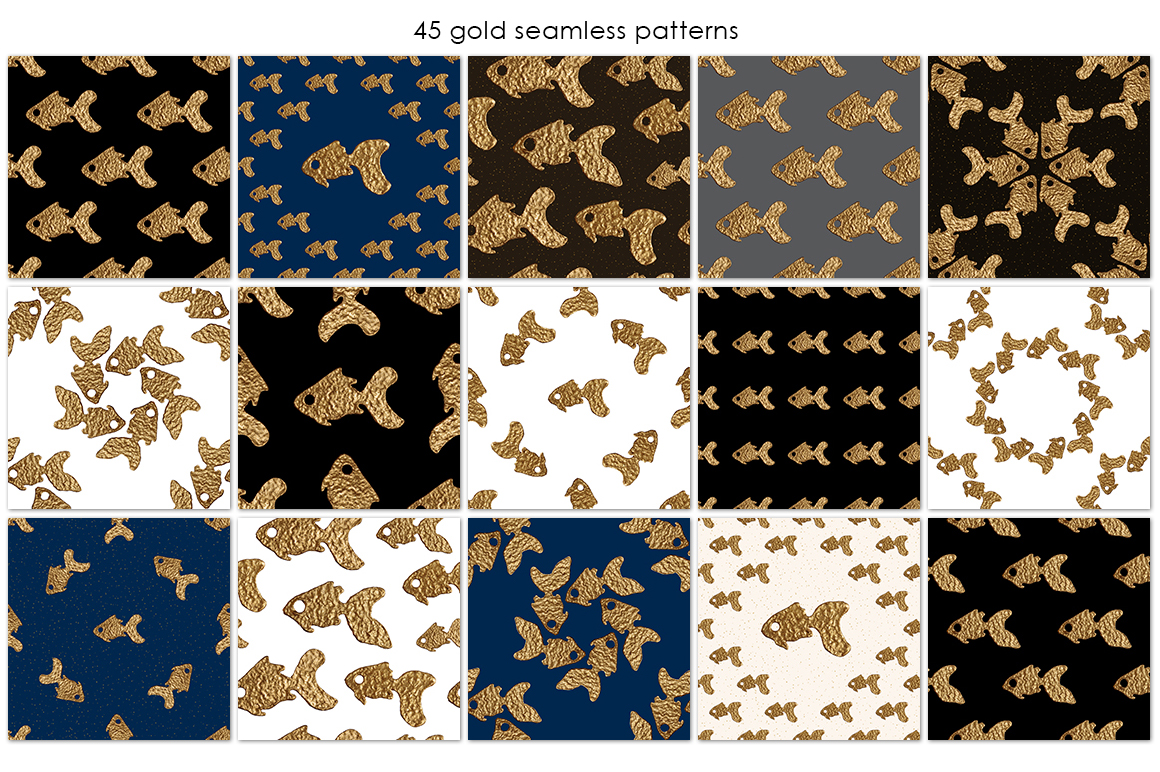 GOLDFISH collection. Hand painted patterns. example image 3