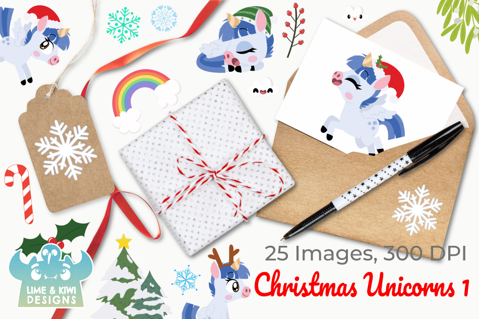 Christmas Unicorns 1 Clipart, Instant Download Vector Art example image 4