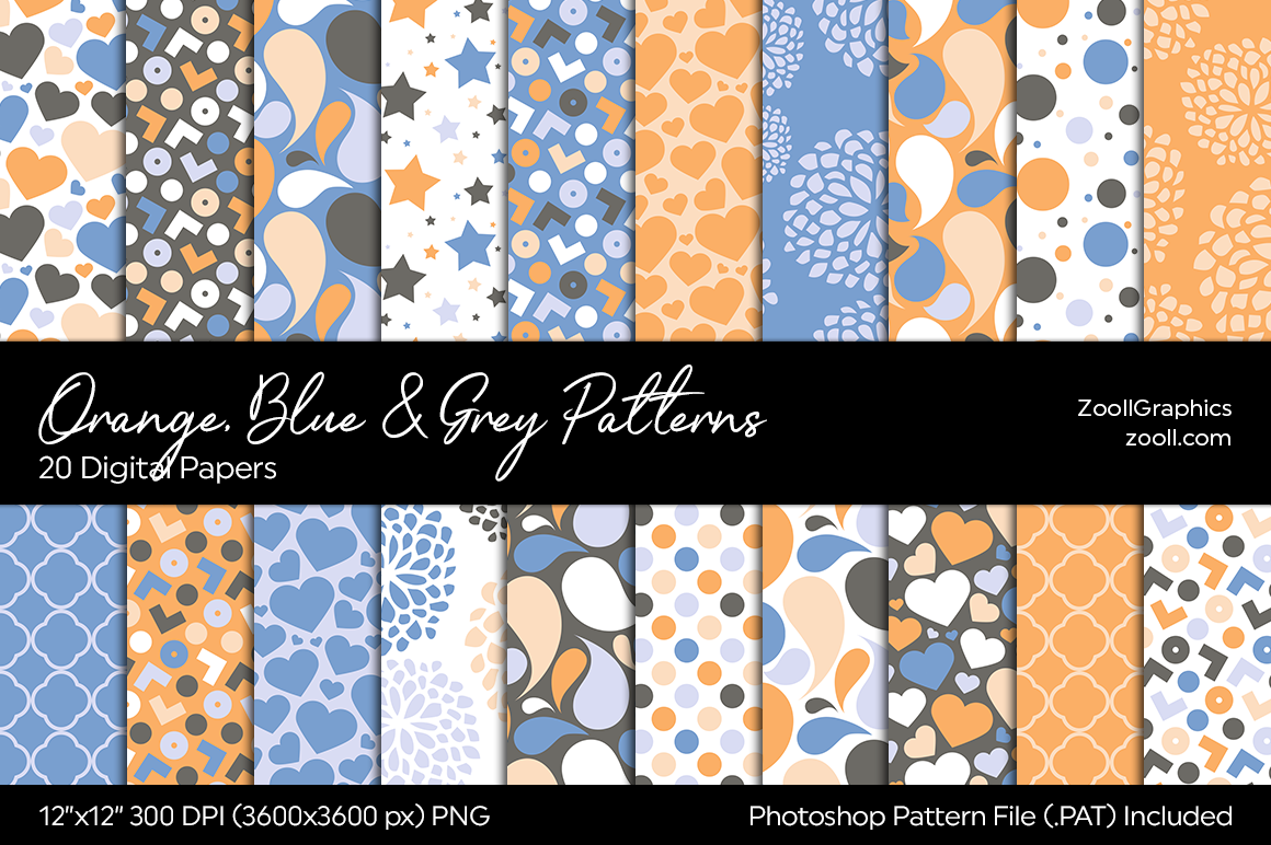 Orange, Blue And Grey Digital Papers example image 1