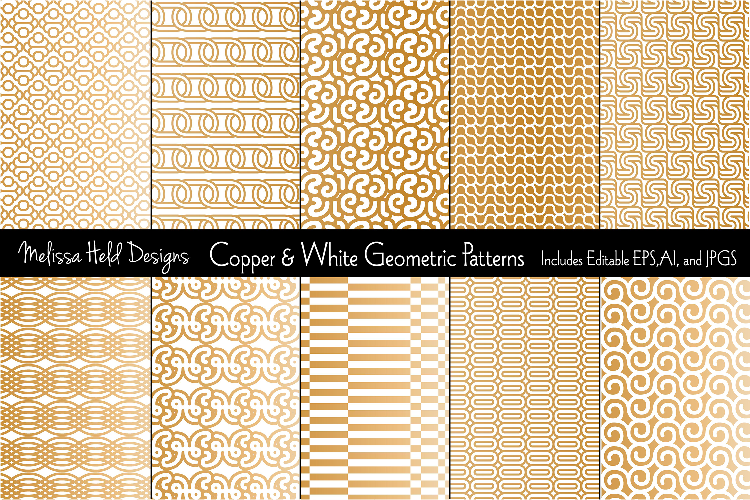 Copper & White Mod Geometrics example image 1