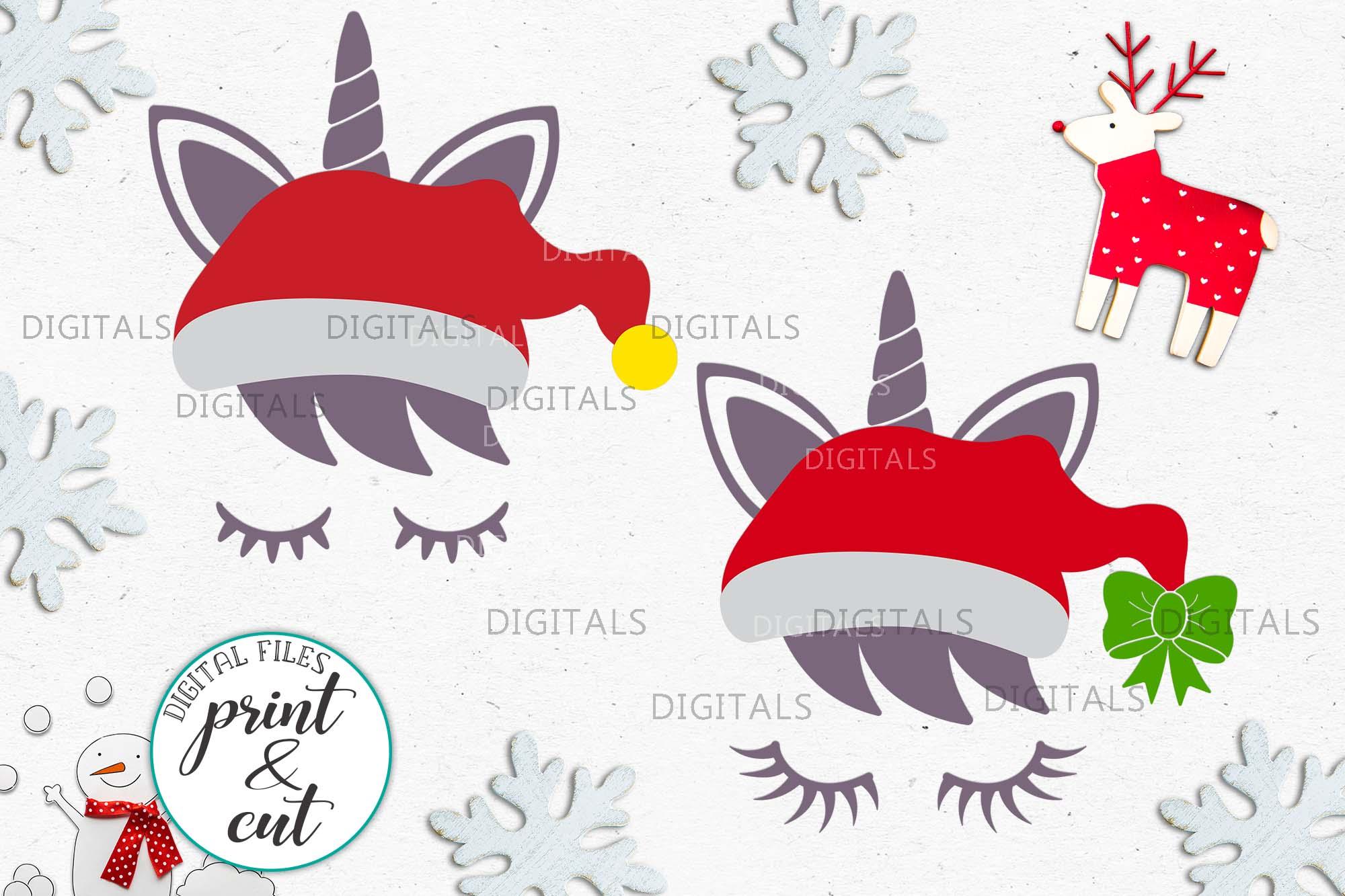 Christmas unicorn in Santa hat eyelashes svg pdf cut print example image 1