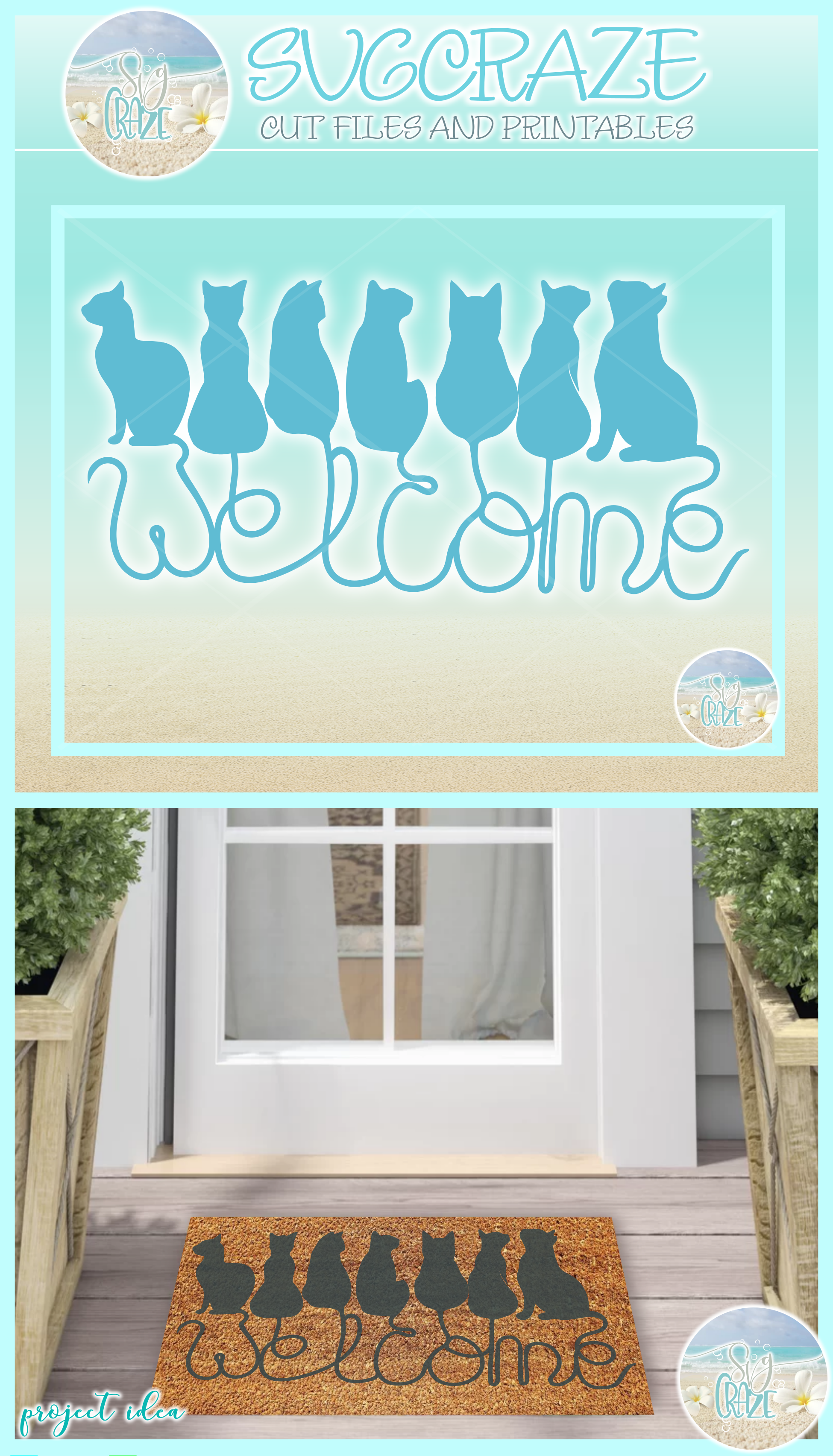 Cats Welcome Coir Door Mat Design Svg Dxf Eps Png Pdf Files example image 4