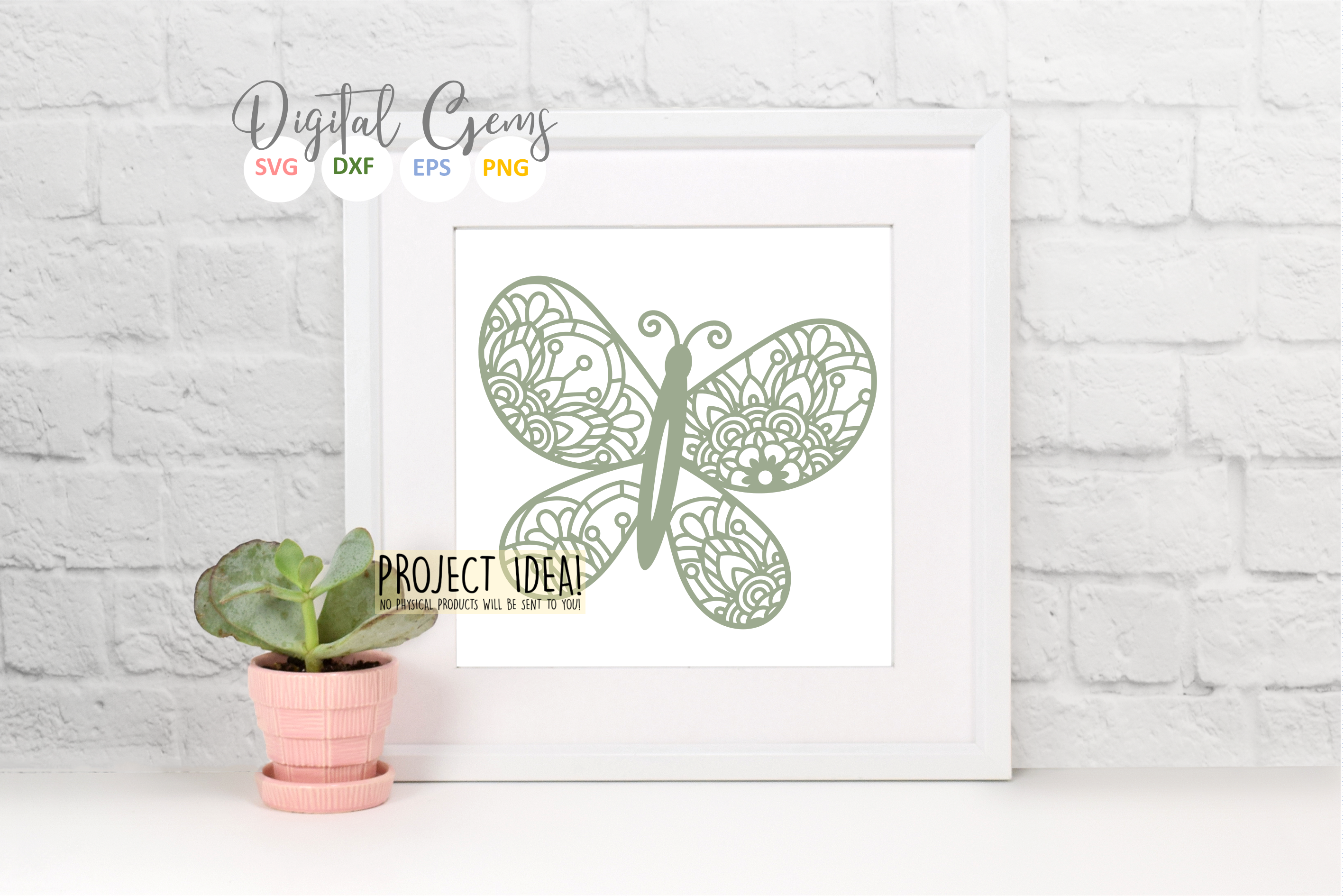 Butterfly paper cut SVG / DXF / EPS / PNG files example image 8