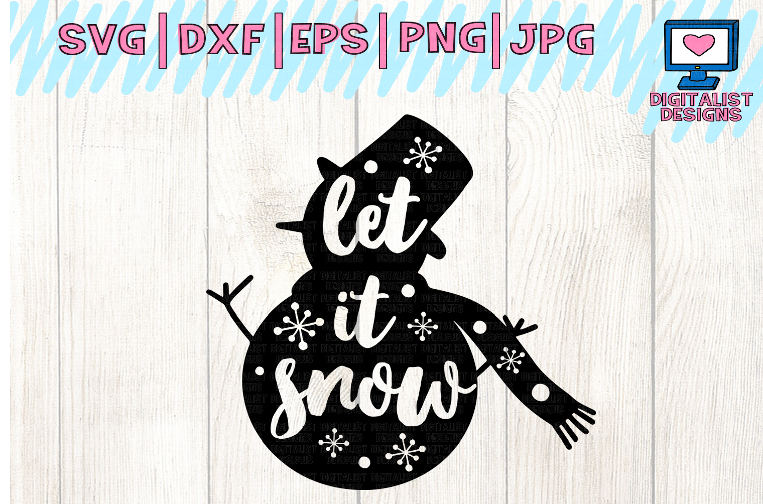snowman svg, let it snow svg, christmas svg, winter svg example image 2