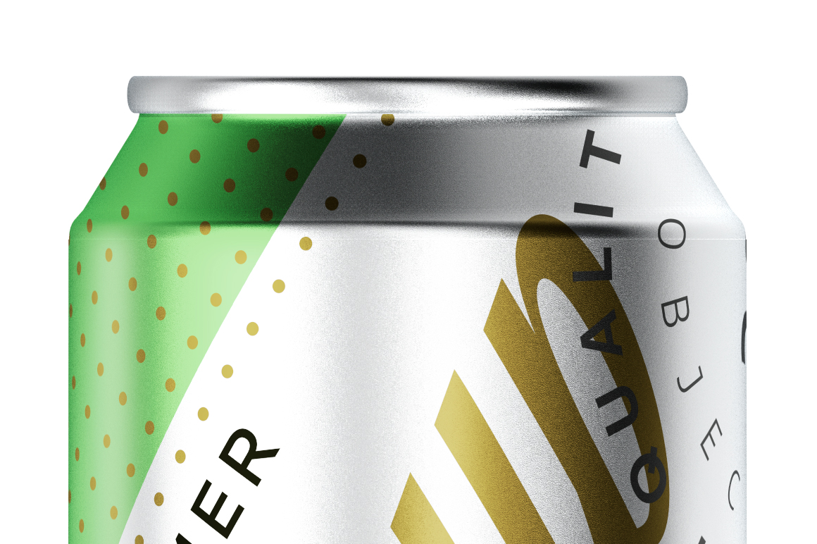 Three Brushed Aluminum Cans Mockup 330ml example image 6